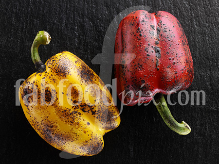Flamed peppers photo